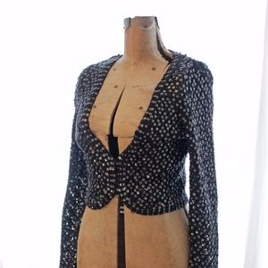 Anthro black sequined cropped crochet cardigan